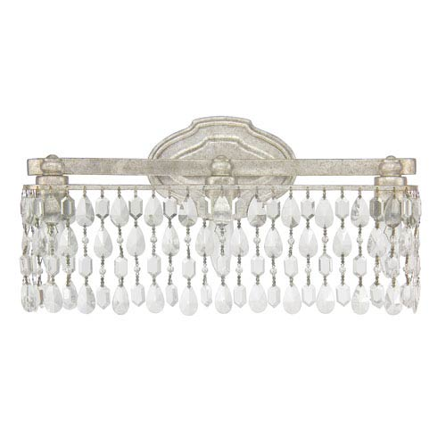 Blakely Antique Silver Three-Light Vanity with Clear Crystals