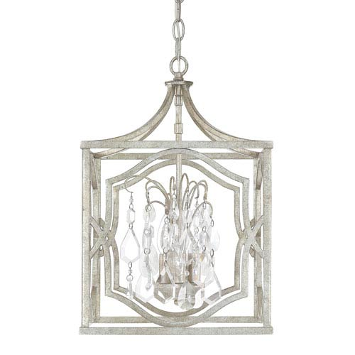 Capital Lighting Fixture Company Blakely Antique Silver Three-Light Pendant with Clear Crystals