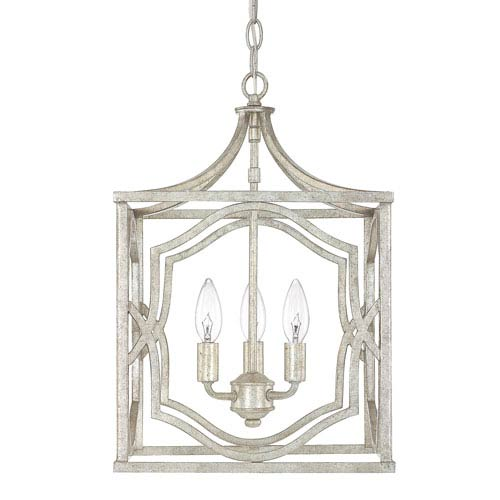 Blakely Antique Silver Three-Light Foyer Fixture