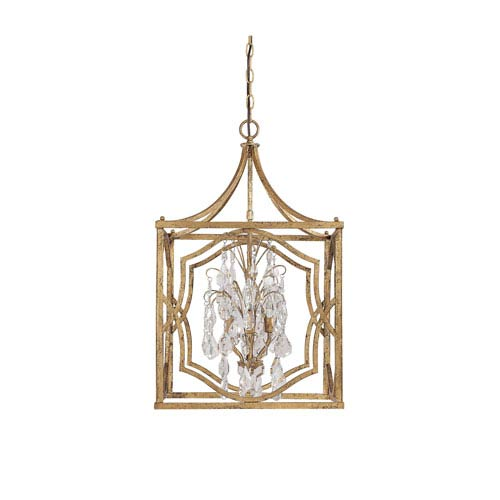 Capital Lighting Fixture Company Blakely Antique Gold Four Light Foyer with Crystals