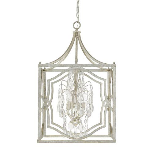 Capital Lighting Fixture Company Blakely Antique Silver Four-Light Pendant with Clear Crystals