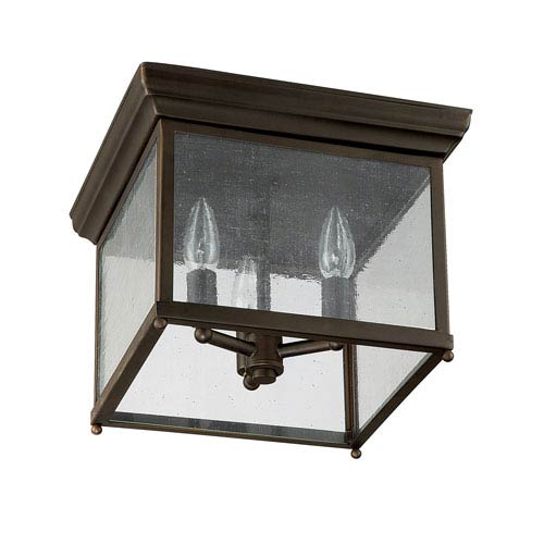 Large Old Bronze Three Light Outdoor Ceiling Fixture