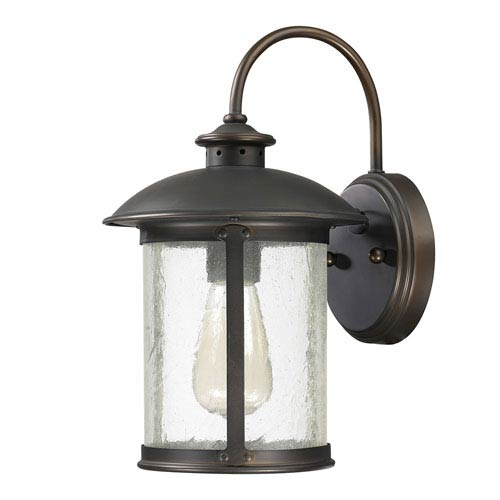 Capital Lighting Fixture Company Dylan Old Bronze One-Light Outdoor Steel Wall Lantern with Antique Glass