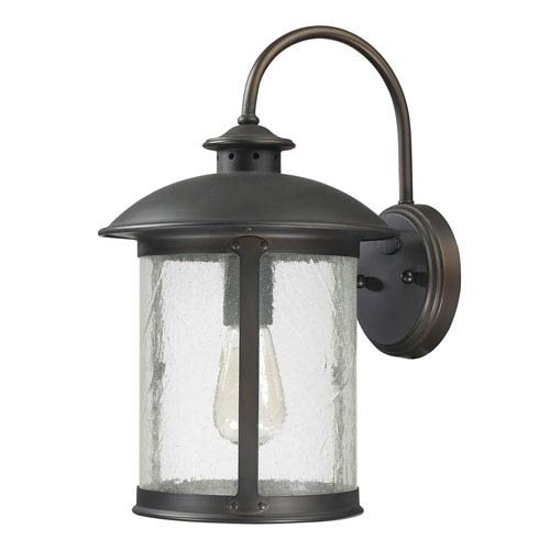Dylan Old Bronze One-Light Outdoor Steel Wall Lantern with Antique Glass