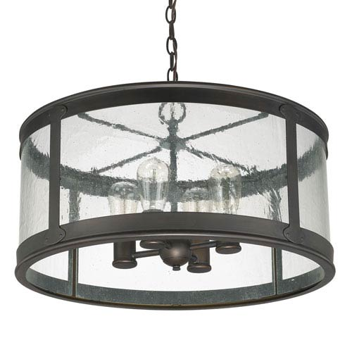 Dylan Old Bronze Four-Light Outdoor Semi-Flush with Antique Glass