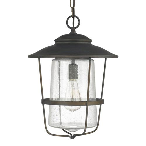 Creekside Old Bronze One-Light Outdoor Hanging Lantern with Seeded Glass