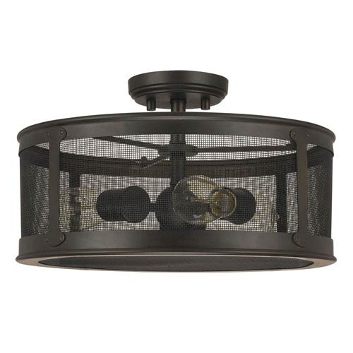 Capital Lighting Fixture Company Dylan Old Bronze Three-Light Outdoor Semi-Flush Mount
