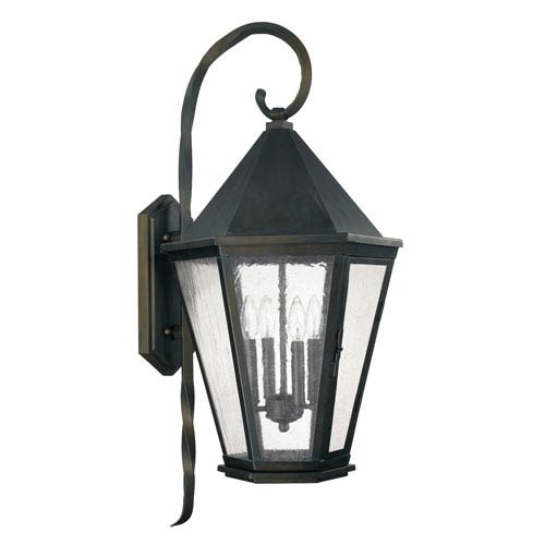 Capital Lighting Fixture Company Spencer Old Bronze Four-Light Outdoor Wall Lantern with Antique Water Glass