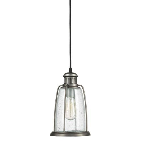 Capital Lighting Fixture Company Graphite One-Light Mini-Pendant with Seeded Glass
