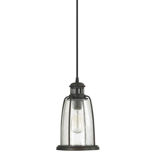 Capital Lighting Fixture Company Old Bronze One-Light Mini-Pendant with Seeded Glass