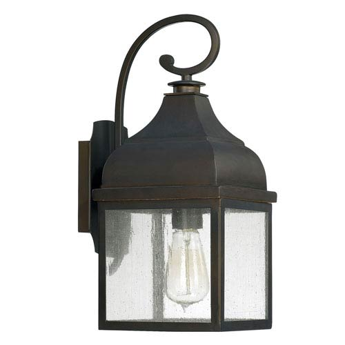 Capital Lighting Fixture Company Westridge Old Bronze One-Light Outdoor Wall Lantern with Antique Glass