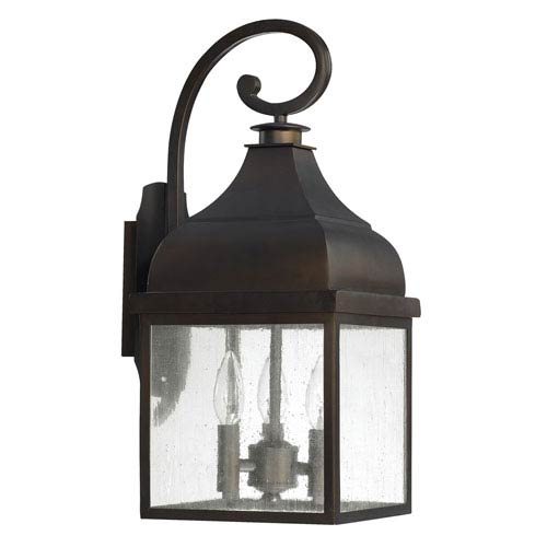 Westridge Old Bronze Three-Light Outdoor Wall Lantern with Antique Glass