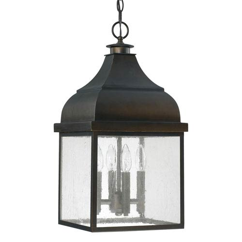 Capital Lighting Fixture Company Westridge Old Bronze Four-Light Outdoor Hanging Lantern with Antique Glass