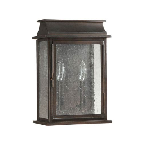 Nine Inch Wide Old Bronze Bolton Two Light Wall Lantern
