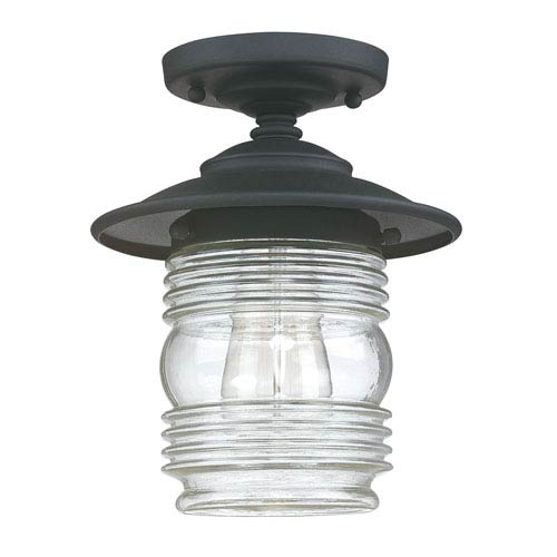 Creekside Black One-Light Outdoor Semi-Flush Mount with Clear Glass