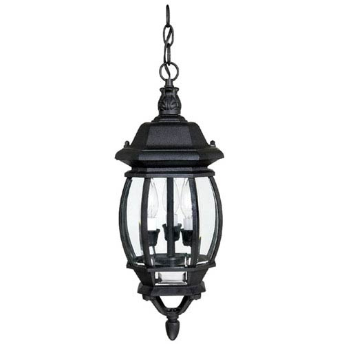 French Country Large Black Outdoor Hanging Pendant