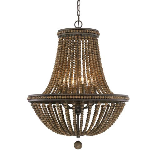 Handley Tobacco with Stained Wood Beads Nine-Light 24-Inch Chandelier