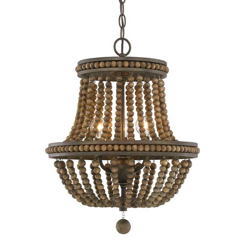 Handley Tobacco with Stained Wood Beads Three-Light 16-Inch Chandelier