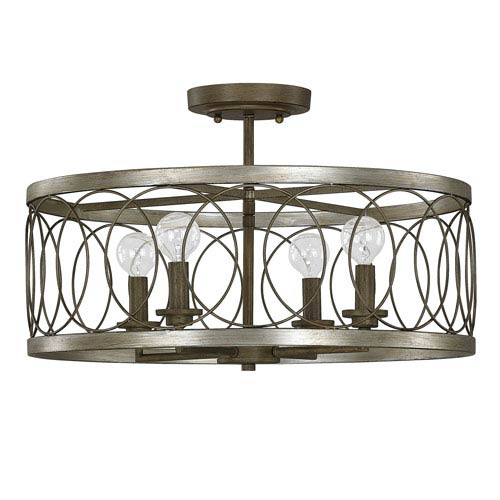 Madeline Brushed Silver and Bronze Four-Light 20-Inch Semi-Flush