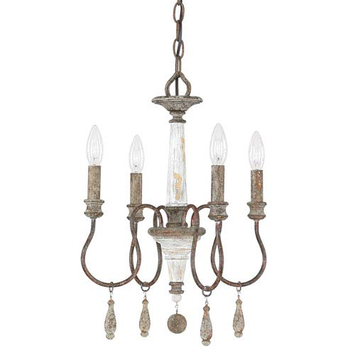 Zoe French Antique Four-Light 14-Inch Mini Chandelier
