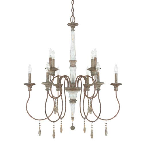 Zoe French Antique Ten Light 29 5 Inch Chandelier