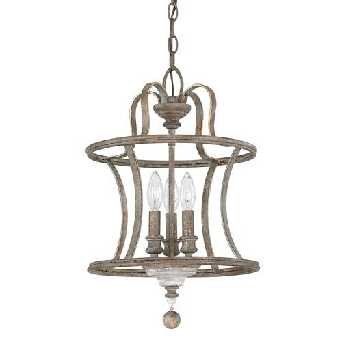 Zoe French Antique Three Light 13 Inch Chandelier