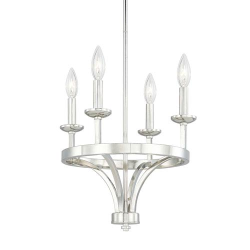 Jaxon Polished Nickel Four-Light 15-Inch Mini Chandelier