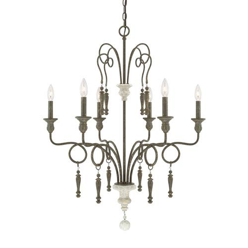 Sofia French Country Six-Light 29.5-Inch Chandelier