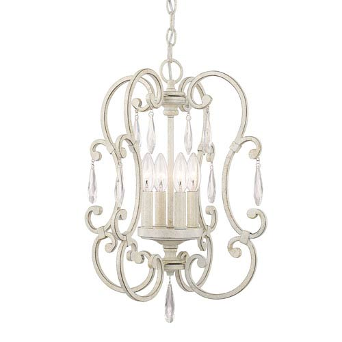 Chloe French White Four-Light 16-Inch Mini Chandelier