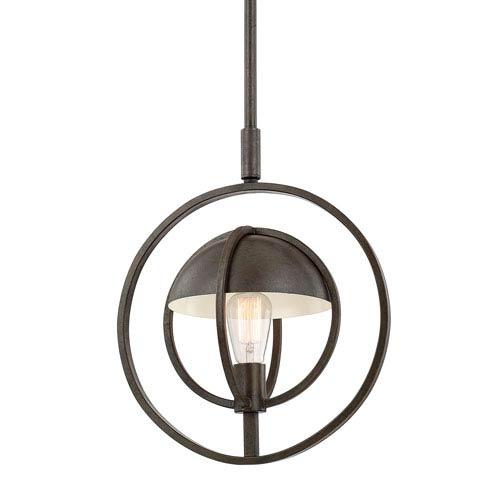Bronze and Oak One-Light 14-Inch Pendant