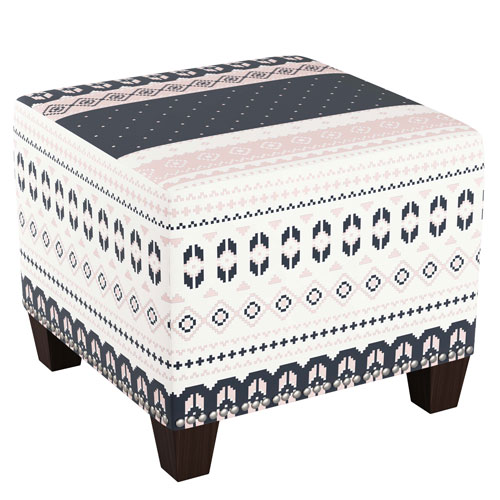 Nordic Sweater Navy Blush 19-Inch Nail Button Ottoman