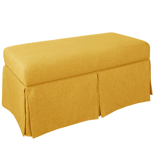 Linen French Yellow 36-Inch Storage Bench