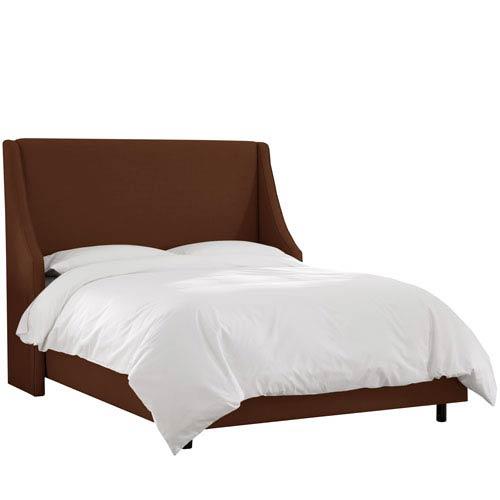 Linen Chocolate Queen Swoop Arm Wingback Bed