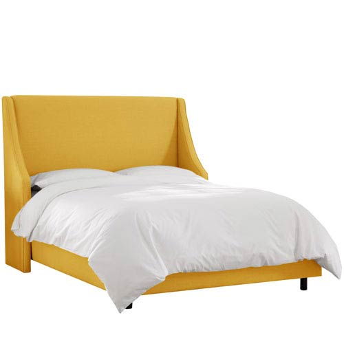 Linen French Yellow Queen Swoop Arm Wingback Bed