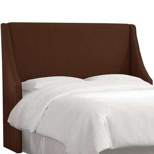 Skyline Furniture, Mfg. Linen Chocolate Queen Swoop Arm Wingback Headboard