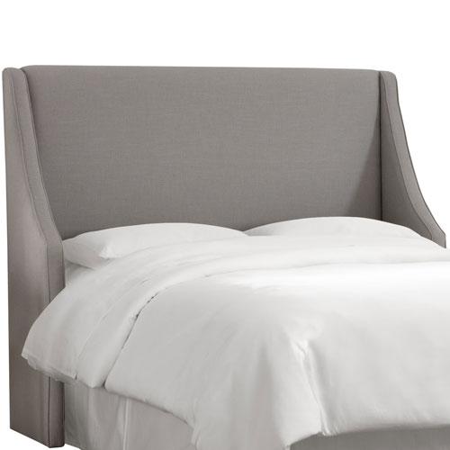 Skyline Furniture, Mfg. Queen Linen Grey Swoop Arm Wingback Headboard