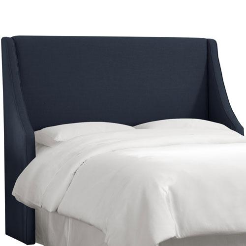 Skyline Furniture, Mfg. Queen Linen Navy Swoop Arm Wingback Headboard