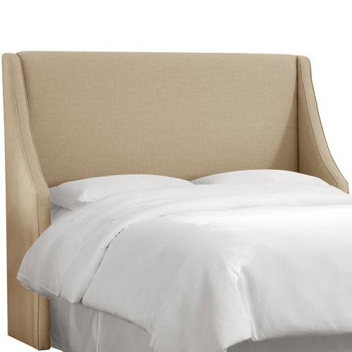 Skyline Furniture, Mfg. Queen Linen Sandstone Swoop Arm Wingback Headboard