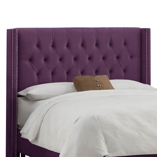 Skyline Furniture, Mfg. Full Diamond Tufted Wingback Headboard in Velvet Aubergine