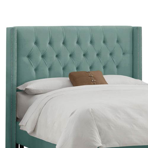 Skyline Furniture, Mfg. Queen Diamond Tufted Wingback Headboard in Velvet Caribbean