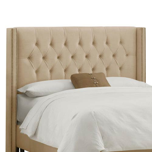 Skyline Furniture, Mfg. King Diamond Tufted Wingback Headboard in Velvet Buckwheat