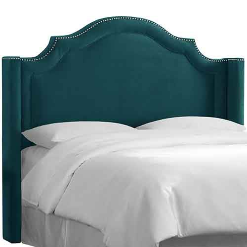 Mystere Peacock Notched Nail Button Wingback King Headboard