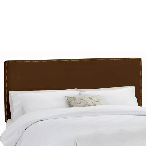 Skyline Furniture, Mfg. King Nail Button Border Headboard in Premier Chocolate