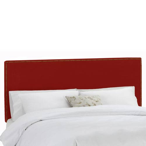King Nail Button Border Headboard in Premier Red
