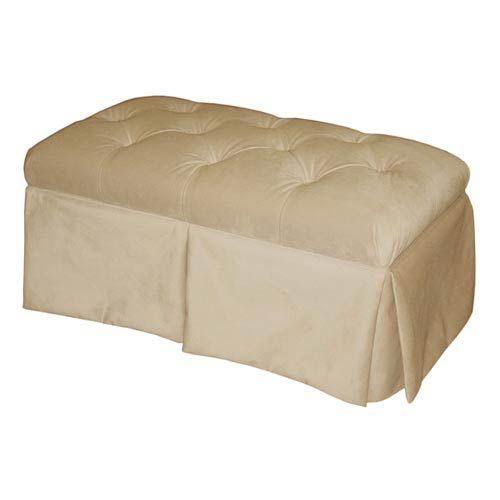 Velvet Buckwheat Skirted Storage Bench