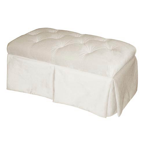 Velvet White Skirted Storage Bench