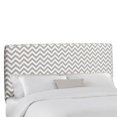 Skyline Furniture, Mfg. Queen Upholstered Headboard in Zig Zag Ash White