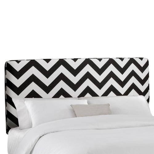 California King Upholstered Headboard in Zig Zag Black And White