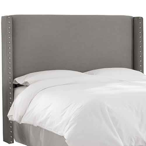 Skyline Furniture, Mfg. Linen Grey Nail Button Wingback Queen Headboard