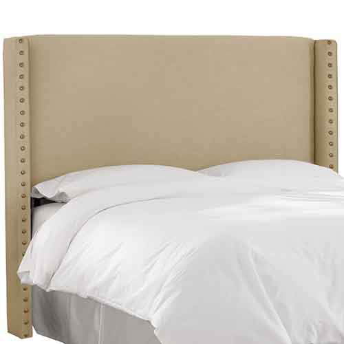 Linen Sandstone Nail Button Wingback Queen Headboard